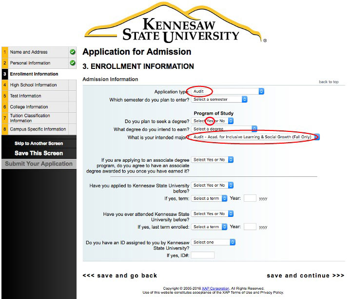 application help—for application type select audit—for do you plan to seek a degree? select yes—for intended major select Academy