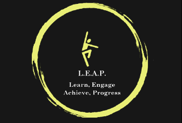 L.E.A.P. Academy Logo with a yellow circle with a black background.
